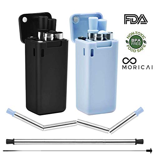 Reusable Metal Straws 2 Pack- Obixio Telescopic Reusable Drinking Straws Stainless Steel, Food-Grade Portable Straw with Case and Cleaning Brush for Outdoor, Party or Household (Black&Blue) (Aluminum Straws)