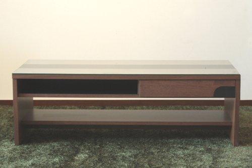 リビングテーブル 国産 幅105cm 高さ35cm 北欧風 モダン デザイン スタイリッシュ オシャレ リビング家具 ガラス天板 ATO-265 B00DM280C8