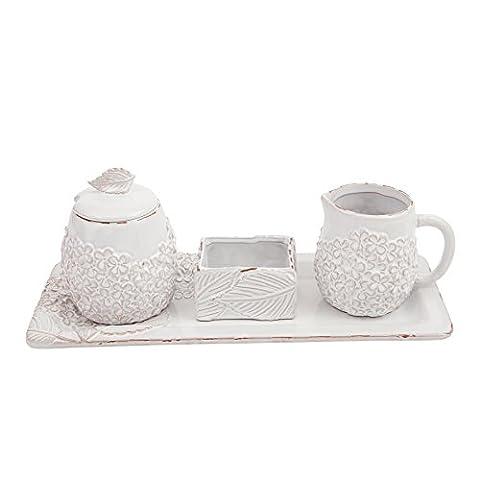 Mud Pie Milk Glazed Terracotta Hydrangea Sugar & Creamer Set, White - Tea Hostess Set