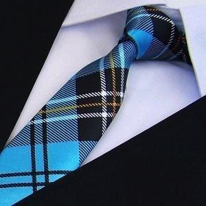 Print Slim Tie Plaid Men's Skinny Ties Polyester Pattern Fashion Neckties (Banks Plaid Shirt)