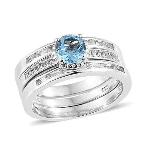 925 Sterling Silver Platinum Plated Blue Topaz White Topaz Stackable Ring for Women Cttw 1.7