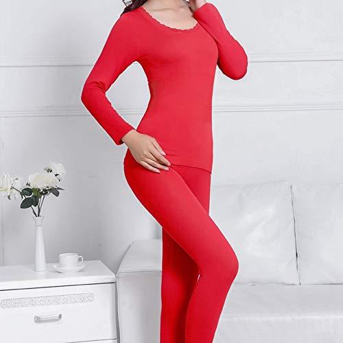 Rond Hnryudcf Sans Couture Dentelle Col Nouveau Femmes Thermiques Red Mis Sous vêtements Corps Soudure qqr10
