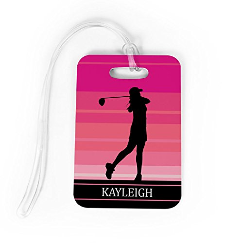 Golf Luggage & Bag Tag | Personalized Female Golfer | Standard Lines on Back | MEDIUM | PINK