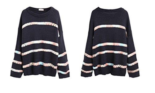 Pull Col Rond Femme Pull Rayé Tee Shirt Pull Extérieur Bleu Automne Et Hiver,Sapphire-OneSize