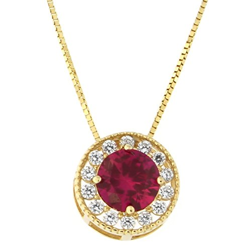 Beauniq 14k Yellow Gold Simulated Ruby and Cubic Zirconia Slider Halo Pendant Necklace, 18 -