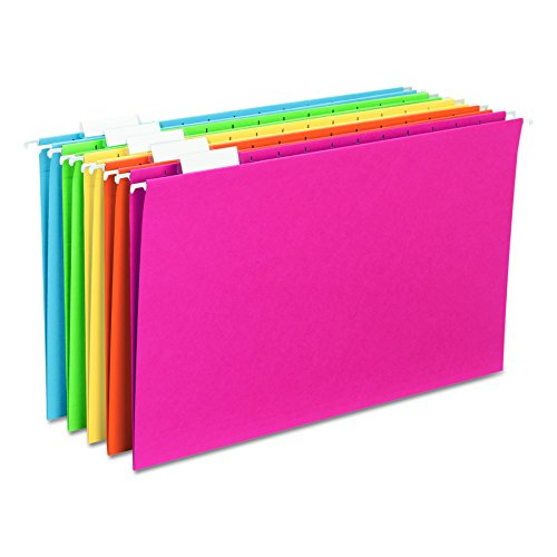 Smead Hanging File Folder with Tab, 1/5-Cut Adjustable Tab, Legal Size, Assorted Colors, 25 per Box (64159)