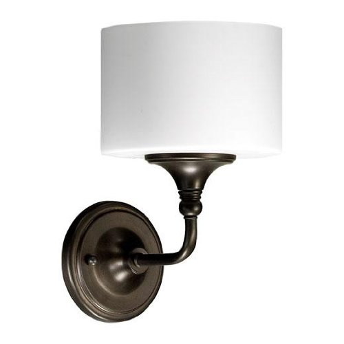 Quorum International 5490-1-86 Rockwood Collection 1-Light Wall Sconce, Oiled Bronze Finish with Satin Opal Glass
