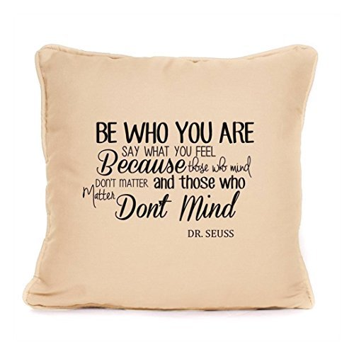 Inspirational Dr Seuss Quote - 'Be Who You Are' Piped Pillow Covers 18 x 18 Decorative Perfect Gift For Birthday, Christmas