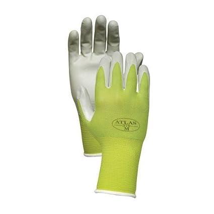 Atlas NT370 Nitrile Garden And Work Gloves, Green Apple, Medium