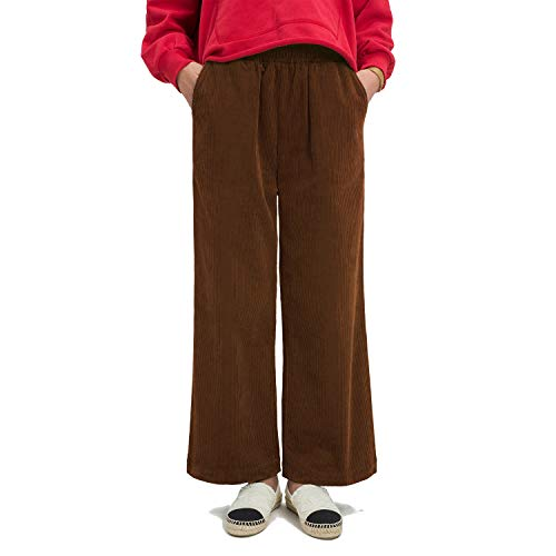 Ecupper Womens Casual Loose Plus Size Elastic Waist Cotton Trouser Cropped Wide Leg Pants Corduroy Caramel 22W