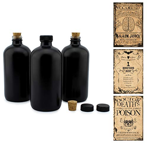 Cornucopia Brands Black 16-Ounce Glass Apothecary Bottles (3-Pack); Boston Round Bottles with Designer Labels Ideal for Aromatherapy, DIY, Herbal Treatments and Halloween, Matte Black Coated Bottles