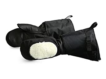 """Superior Calfskin Leather Extreme Cold Weather Gloves Mitt with Removable Liner and Fleece Cheek Warmer, Work, 17"""" Length, Black (Size Large)"""