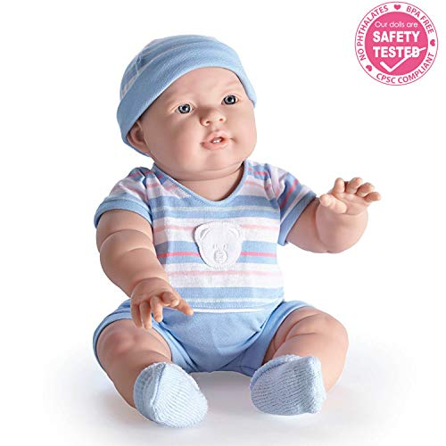"JC Toys Lucas 18"" Baby Doll in Blue Stripes"