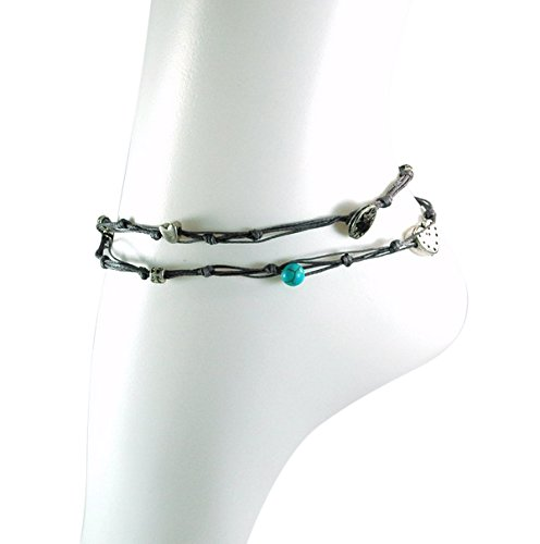 Handmade Denim Blue & Silver Double Wrap Anklet for Good Luck - 10.5'' by MIZZE Made for Luck (Image #3)
