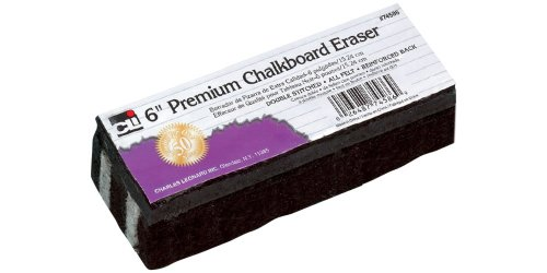 Charles Leonard Premium Felt Chalkboard Eraser, 6 x 2 x 1.25 Inches, Black/White, 12-Pack -