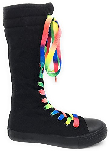 Skate 10 Size Kids Punk Shoes Black Consider up Canvas 1 Rainbiw Girls Classic Dev Going Laces Sneakers Boot Tall Dancing New 1twq0