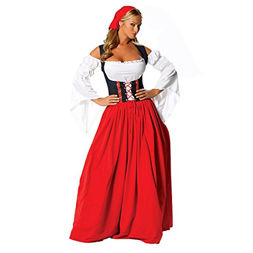 (Quesera Women's Oktoberfest Costume Renaissance Halloween German Beer Maid Costume, Red, Tag Size S=US Size)