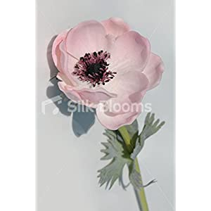 Single Artificial Fresh Touch Pale Pink Anemone, Silk Pink Poppy 117