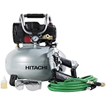 "Hitachi KNT50AB Brad Nailer and Compressor Combo Kit, 6 Gallon Pancake Air Tank, 5/8 to 2"" Brad Nails, Includes 25' Air Hose"