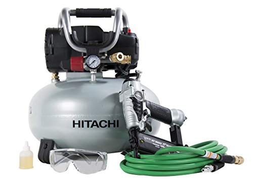 Air Finishing Nailer - Hitachi KNT50AB Brad Nailer and Compressor Combo Kit, 6 Gallon Pancake Air Tank, 5/8