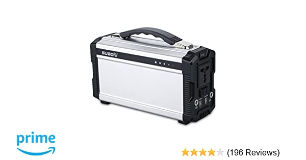 Suaoki 222Wh Portable Generator Power Source CPAP Lithium Battery Pack Power Supply with Silent 110V/60Hz, Max 200W AC Power Inverters, DC 12V & USB Ports, Charged by Solar Panel/Wall Outlet/Car