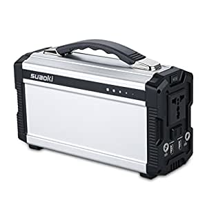 Suaoki 222Wh Portable Generator Power Source CPAP Lithium Battery Pack Power Supply with Silent 110V/60Hz, Max 200W AC Power Inverters, DC 12V & USB Ports, Charged by Solar Panel/ Wall Outlet/ Car