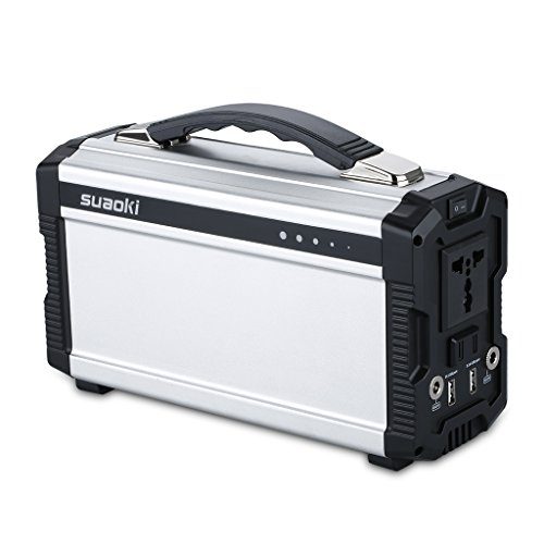 Suaoki 220Wh/20,000mAh Portable Generator Power Source Power Supply with 100V/110V/60Hz, Max 200W AC Power Inverters, 12V/5A DC & USB Ports, Charged by DC Input/Solar Panels