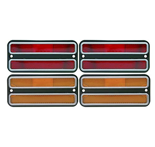 United Pacific (4) 1968-1972 Chevy Truck Side Marker Light Housings Set, Red Amber (1972 Chevy Truck)