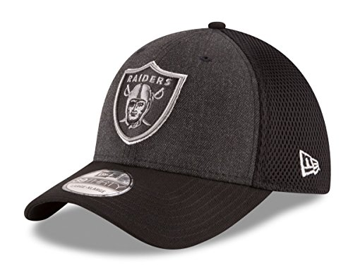 "Oakland Raiders New Era NFL 39THIRTY ""Heathered Black Neo"" Flex Fit Hat"