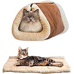 Pet Bed, CGKUITER Machine Washable & Removable Cats and Dogs Self-Warming Plush Cushion Bed Liner Home Indoor Outdoor Brown