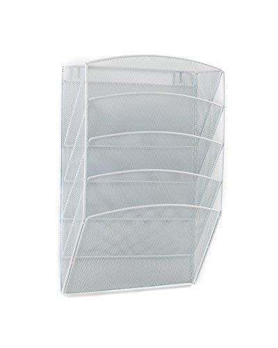 (Klickpick Office 5 Sections Hanging Files Wall Mounted Metal Mesh Document File Organizer Magazine Holder Rack Organizer Racks Multipurpose Use to Display Files, Magazine, Newspapers- White)