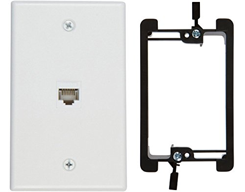 (Buyer's Point 1 Port Cat6 Wall Plate, Female-Female White with Single Gang Low Voltage Mounting Bracket Device (1 Port))