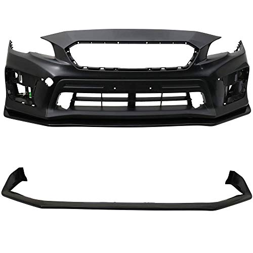 Front Bumper Lip Fits 2015-2018 Subaru WRX STI | S207 Style Black PU Front Lip Finisher Under Chin Spoiler Add On by IKON MOTORSPORTS | 2016 ()