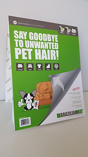 BrazilianMat Pet Hair Remover: Perfect for cleaning furniture, car, clothing, bedding or anything else covered in dog, cat hair! 50 adhesive sheets; 8.5