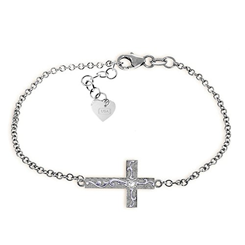 14k Purple Cross - Galaxy Gold 0.05 Carat 14K Solid White Gold Cross Bracelet Natural Diamond