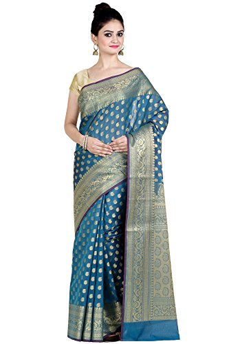 Chandrakala Women's Sea Green Cotton Silk Blend Banarasi Saree,Free Size(8885)