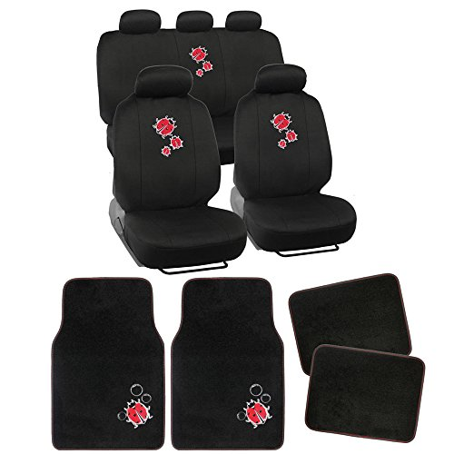 13pc BDK Lady Bug Combo Auto Interior Gift Set : Seat Covers and Matching Carpet Floor Mats (Lady Bug Car Mats compare prices)