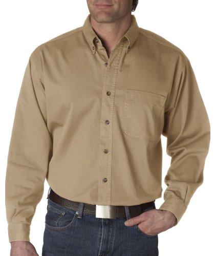 UltraClub Men's Long-Sleeve Cypress Denim with Pocket (Khaki) (X-Large) Long Sleeve Johnny Collar Shirt