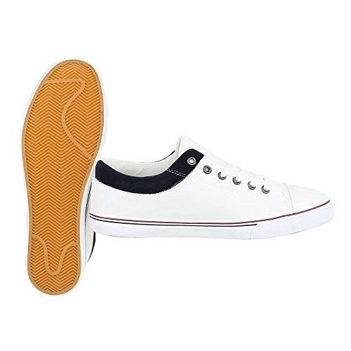 Ital-Design - Zapatos Planos con Cordones Hombre Weiß