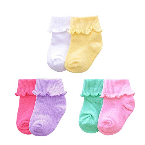 (Baby Girls Cotton Frilly Lace Socks,Newborn/Infant/Toddler/Little Girls 6-Pack (White/Plum red/Purple/Yellow/Light Blue/Pink, 1-2 Years))