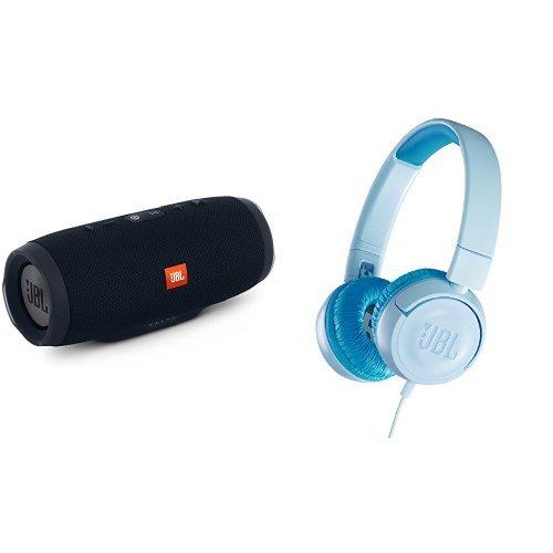 JBL CHARGE3 Bluetoothスピーカー IPX7防水 ブラック + JR300 子供向け ヘッドホン 音量制御機能搭載 クリアブルー [JBLCHARGE3BLKJN + JBLJR300BLU] 【国内正規品】   B079JVP1J8