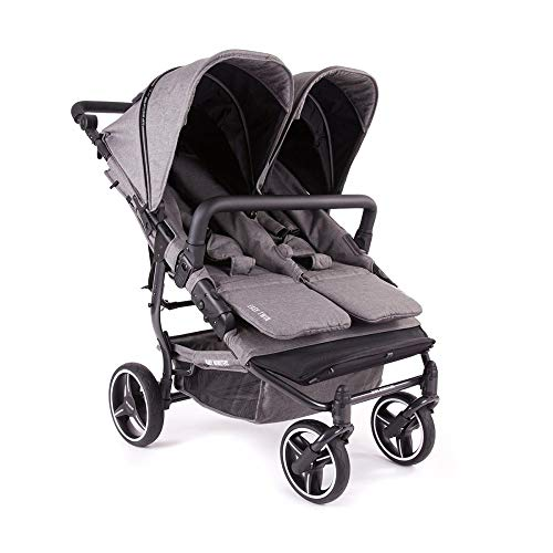 Baby Monster Easy Twin 3.0 Double Stroller Texas with Rain Cover and Front Bar for Twins or Sibling