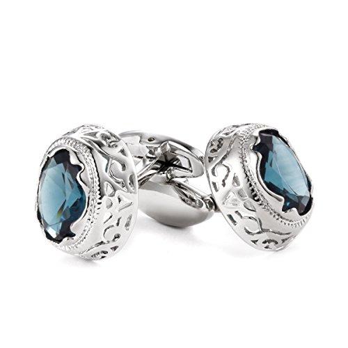 Crystal Elegant Cufflinks (Habool Cufflinks Round Hollow Pattern with Elegant Crystal Blue Stone for Men Wedding Business - 1 Pair)