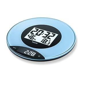 Beurer KS49 - Balanza de cocina, medición 3 kg/1 gr, pantalla LCD, se puede colgar en la pared, color azul/negro