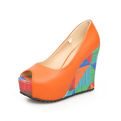AllhqFashion Women's High Heels Pull On Pu Solid Peep Toe Sandals Orange UOdYSfV