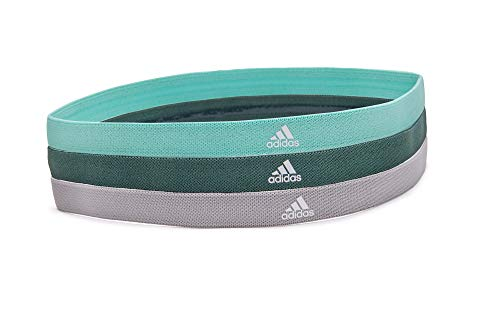 adidas Sweat Band Sports Headbands with Super Absorbent Non-Slip Grip (3 Pack), Mint/Dark Green/Grey'