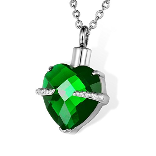 HOUSWEETY Birthstone Urn Pendant Necklace