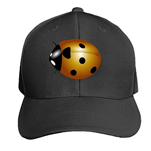 Orange Ladybug Wings Spots Ladybird Unisex Washed Twill Baseball Cap Adjustable Peaked Sandwich Hat