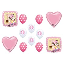 Baby Minnie Mouse Birthday 1st First Balloons Decorations Supplies