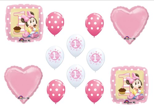 Baby Minnie Mouse Birthday 1st First Party Balloons Decorations Supplies